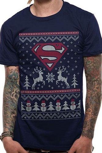 T-Shirt - DC Comics: Superman - Christmas Reindeer & Snowman S